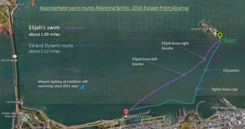 alcatraz swim route